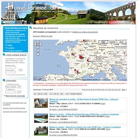 HomeInFrance.Com, site immobilier
